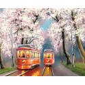Романтика весенних трамваев Раскраска картина по номерам на холсте MG2418