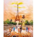 Прогулка по теплому Парижу Раскраска картина по номерам на холсте MG2405