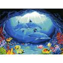 Дельфины в подводной пещере Раскраска картина по номерам на холсте MG173
