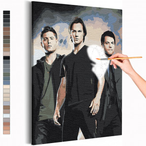 Сверхъестественное / Винчестеры и Кас Раскраска картина по номерам на холсте AAAA-RS370