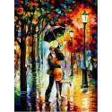 Под дождем ( художник Леонид Афремов ) Раскраска (картина) по номерам акриловыми красками на холсте Menglei
