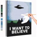 Я хочу верить / Космос Раскраска картина по номерам на холсте AAAA-RS373