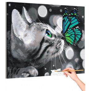 Котенок и яркая бабочка / Животные Раскраска картина по номерам на холсте с неоновой краской AAAA-RS162