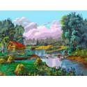 Стога у реки Раскраска ( картина ) по номерам акриловыми красками на холсте Белоснежка