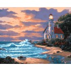 Дом с маяком Раскраска ( картина ) по номерам акриловыми красками на холсте Белоснежка