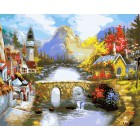 Мост через реку Раскраска ( картина ) по номерам акриловыми красками на холсте Белоснежка