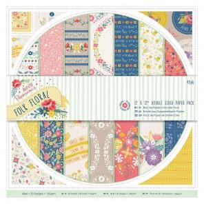 Folk Floral Набор двухсторонней бумаги для скрапбукинга, кардмейкинга Docrafts