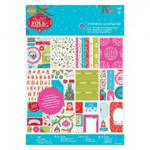 Folk Christmas Набор двухсторонней бумаги А4 с высечкой для скрапбукинга, кардмейкинга Docrafts