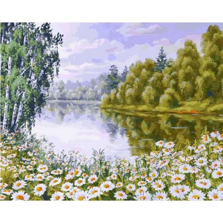 В ромашковом краю Раскраска ( картина ) по номерам акриловыми красками на холсте Белоснежка