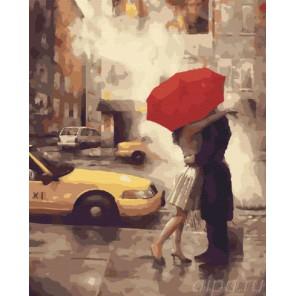 Счастье под красным зонтом (художник Daniel Del Orfano) Раскраска по номерам акриловыми красками на холсте Живопись по номерам