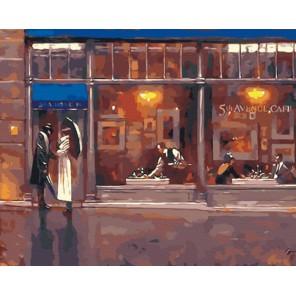 За витриной вечернего кафе  (художник Брент Линч) Раскраска по номерам на холсте Живопись по номерам
