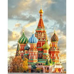 Фрагмент Собор Василия Блаженного Алмазная вышивка (мозаика) Гранни