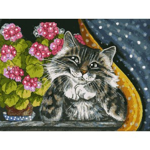 На окошке Раскраска ( картина ) по номерам акриловыми красками на холсте Белоснежка