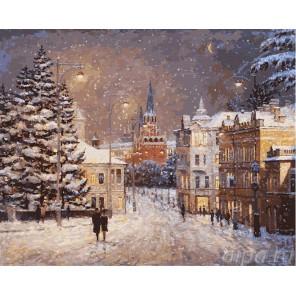 Снег на Волхонке Раскраска ( картина ) по номерам акриловыми красками на холсте Белоснежка
