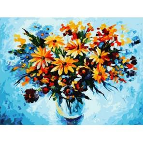 Разноцветные ромашки Раскраска ( картина ) по номерам акриловыми красками на холсте Белоснежка