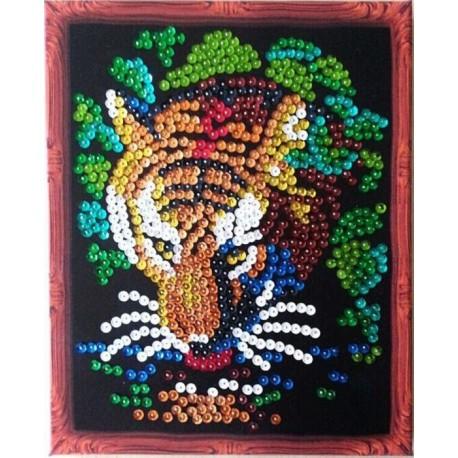 Тигр Мозаика из пайеток Menglei