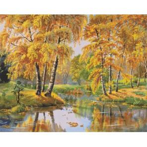 Осень. Березки у пруда. Алмазная вышивка (мозаика) Sddi Anya