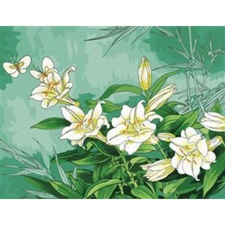 Лилии Раскраска по номерам акриловыми красками на холсте Menglei