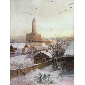 Сухарева башня ( репродукция Алексея Саврасова) Раскраска (картина) по номерам акриловыми красками на холсте Molly