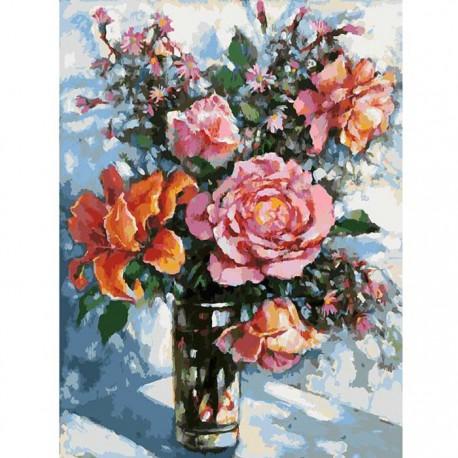 Натюрморт с розами Раскраска ( картина ) по номерам акриловыми красками на холсте Белоснежка
