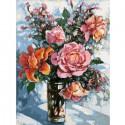 Натюрморт с розами Раскраска ( картина ) по номерам на холсте Белоснежка