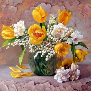 Желтые тюльпаны Алмазная частичная вышивка (мозаика) Color Kit