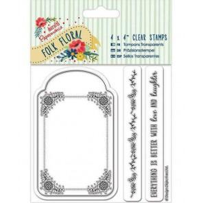 Бирка Folk Floral Штампы для скрапбукинга, кардмейкинга Docrafts