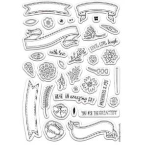 Баннеры Folk Floral Штампы для скрапбукинга, кардмейкинга Docrafts