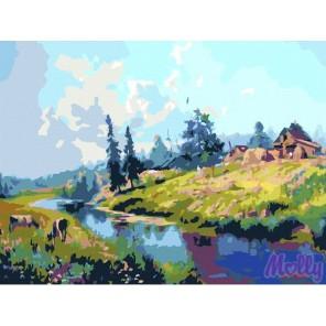 Дом на берегу реки Раскраска (картина) по номерам на холсте Molly