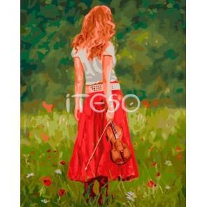 Девушка со скрипкой Раскраска ( картина ) по номерам акриловыми красками на холсте Iteso