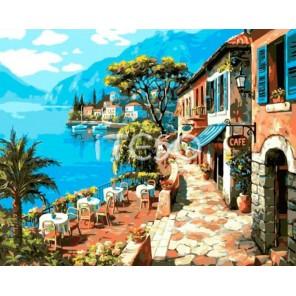 Прибрежное кафе Раскраска ( картина ) по номерам на холсте Iteso