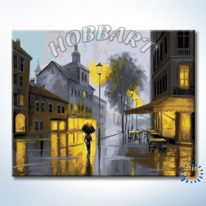 В свете фонарей Раскраска ( картина ) по номерам акриловыми красками на холсте Hobbart