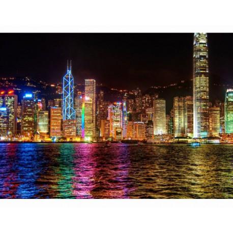 Ночной Гонконг Раскраска (картина) по номерам акриловыми красками на холсте Menglei