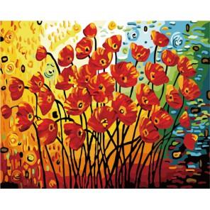 Поле маков Раскраска (картина) по номерам на холсте Menglei