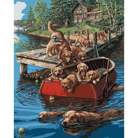 Плавание по собачьи Раскраска картина по номерам акриловыми красками Plaid | Купить раскраски по номерам
