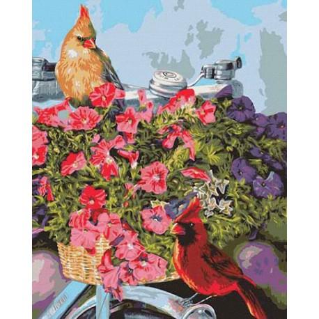 Весенний велосипед Раскраска картина по номерам акриловыми красками Plaid   Купить раскраски по номерам