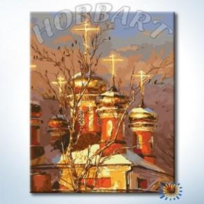 Золотые купола в рамке Раскраска картина по номерам акриловыми красками на холсте Hobbart