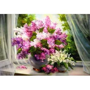 Сирень на окне Алмазная вышивка мозаика Гранни | Картины алмазной мозаики купить