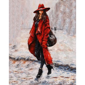 Девушка в красном Алмазная вышивка мозаика Гранни