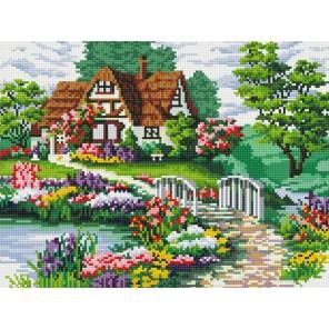 Мостик в цветах Алмазная вышивка (мозаика) Белоснежка | Картины алмазной мозаики купить