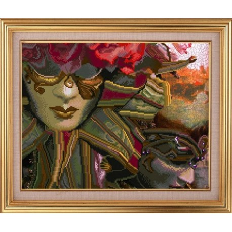 Венецианские маски Алмазная частичная вышивка мозаика на подрамнике Color Kit