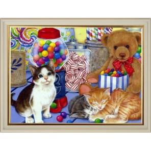 Котята с леденцами Алмазная вышивка (мозаика) на подрамнике Color Kit