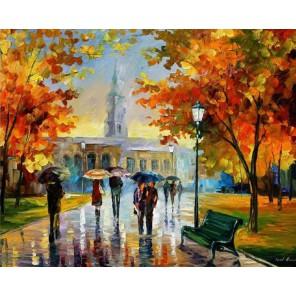Прогулка в Октябрьском парке (художник Леонид Афремов) Раскраска картина по номерам акриловыми красками на холсте Molly