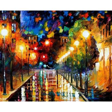 Ночной бульвар Раскраска картина по номерам на холсте ...