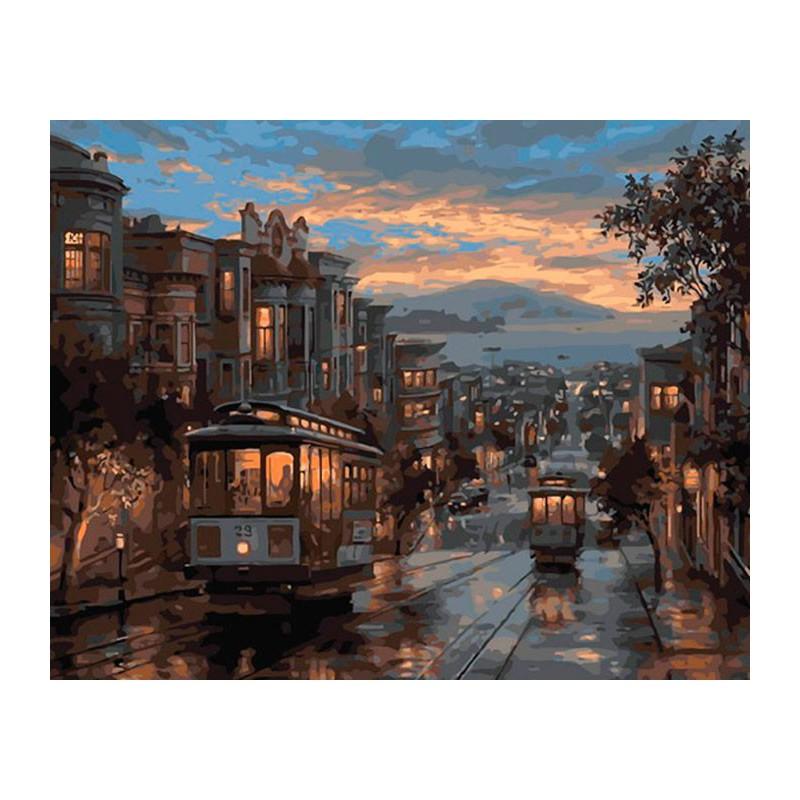 Ночной трамвай Раскраска ( картина ) по номерам акриловыми ...