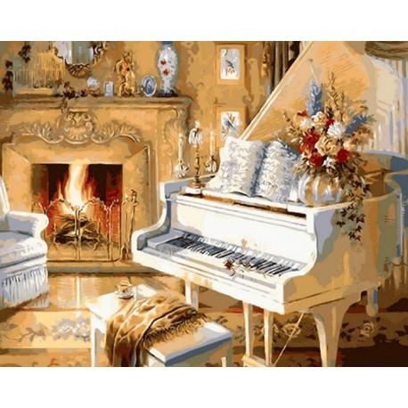 Белоснежный рояль Раскраска ( картина ) по номерам ...