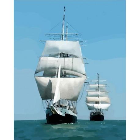 Корабли в море Раскраска картина по номерам акриловыми ...