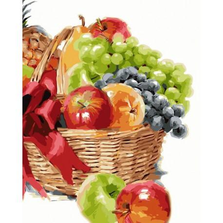Корзинка с фруктами Раскраска картина по номерам ...