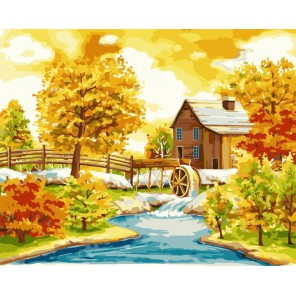 Домик с водяной мельницей Раскраска картина по номерам акриловыми красками на холсте Русская живопись
