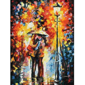 Поцелуй под дождем Раскраска картина по номерам на картоне Белоснежка